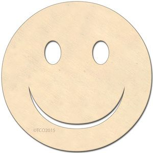 """4-in Wooden shape 1/8"""""""" thick shape (Happy Face) unfinished Plywood"""