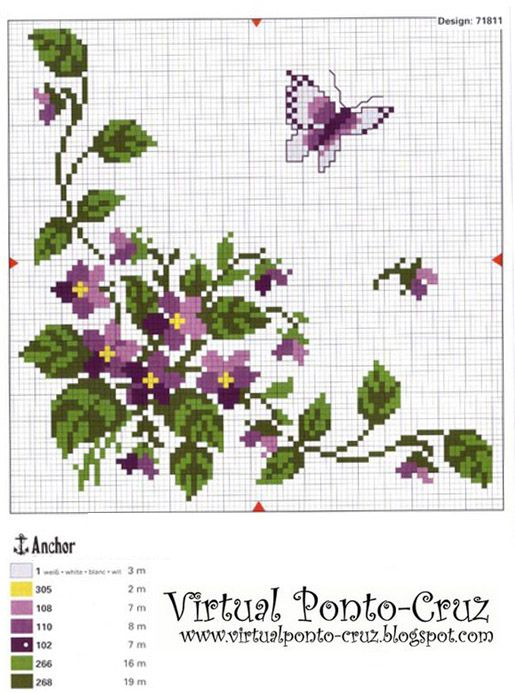 Punto De Cruz De Flores | Punto De Cruz - Mas de 5,000 Graficos: FLORES Y MARIPOSAS