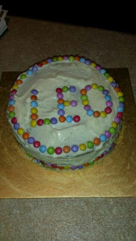 Leo's birthday cake, by moi #cake #birthday #smarties