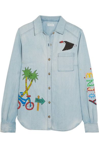 Mira Mikati | Ice Cream Van painted denim shirt | NET-A-PORTER.COM