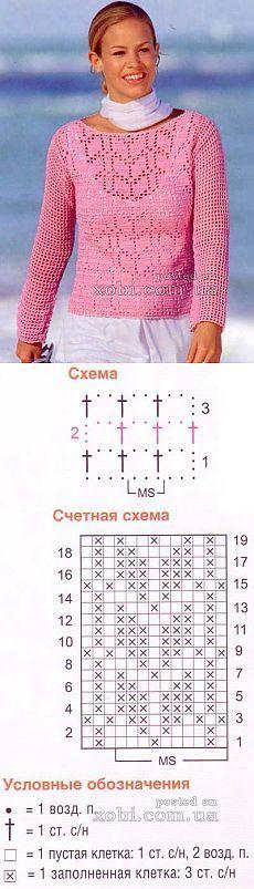 розовый пуловер вязаный филейным узором