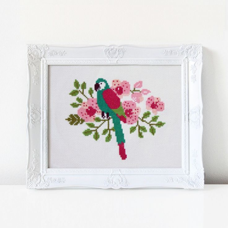 Get the kit or pattern in the shop to make your own Parrot cross stitch!