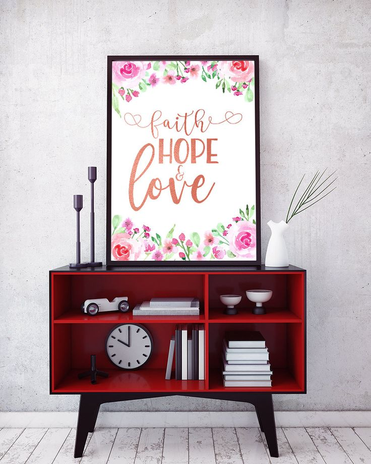 Inspirational Flower Art Printable - Faith, Hope and Love - with stylish and lovely watercolor wild flowers and rose gold lettering.Perfect for home decor or housewarming gift by Amistyle Art Studio on Etsy