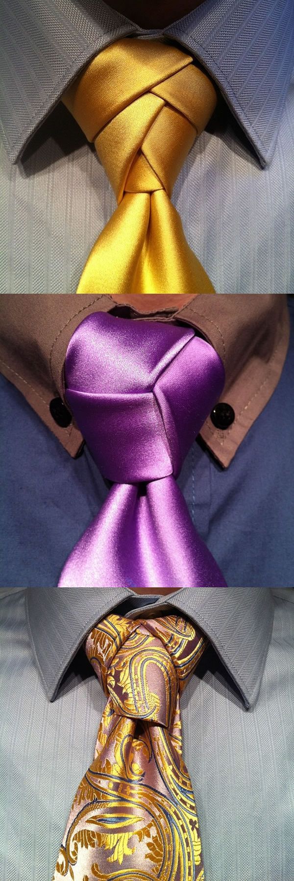 Exotic Necktie Knots — from top: Eldredge Knot, Cape Knot & Trinity Knot. For instructional videos on these & more, visit http://www.agreeordie.com
