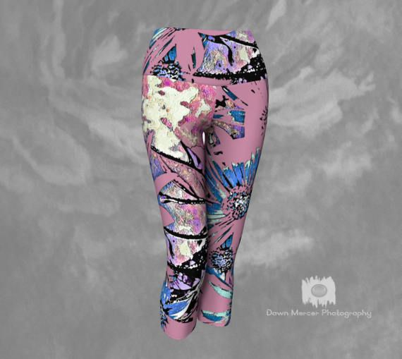 Floral Capris Yoga leggings Pink Floral Tights by DawnMercerPhoto