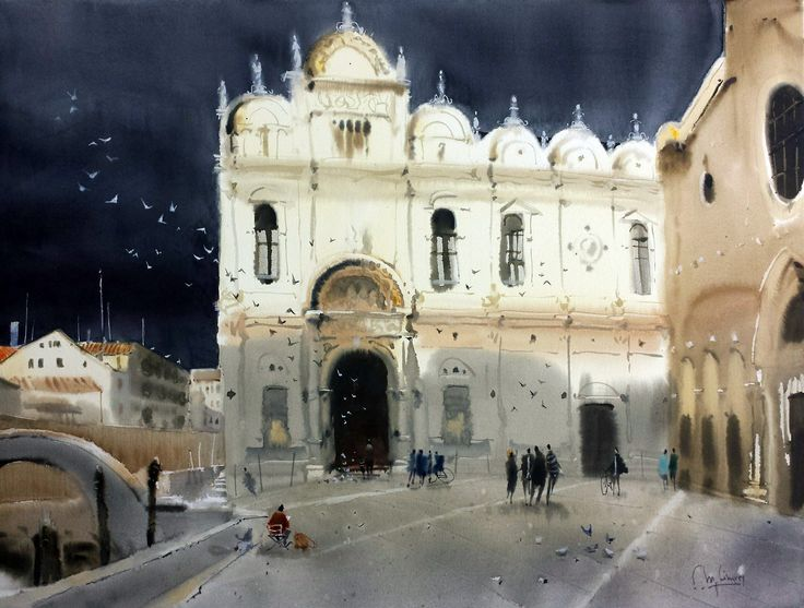 Miguel Linares Rios - the Italian Artist - Watercolor / paper 46 × 61 cm