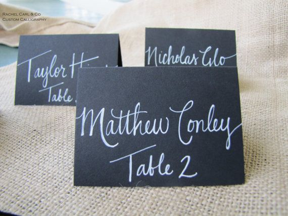 Wedding Black Name Place Cards Escort Cards Table by RachelCarl, $1.15