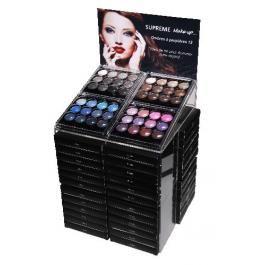 Présentoir Palettes de Fards à paupières de Supreme Make-up  Contient : 20 palettes Black/ Noir (Réf 41745) 20 palettes Brown/ Marron (Réf. 41746) 4 palettes Navy/Marine (Réf. 41747) 4 palettes Purple /Rose (Réf. 41748)  + 1 testeur de chaque palette.