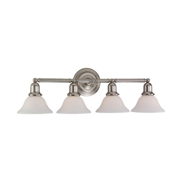 Sea Gull Lighting Bathroom Light with White Glass in Brushed Nickel Finish 44063-962