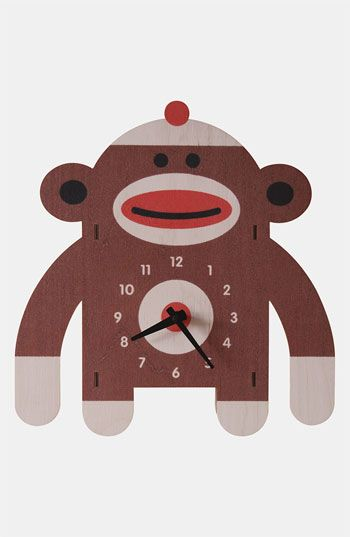 Modern Moose 'Sock Monkey' Clock available at #Nordstrom -- I love sock monkeys. My great grandmother made one for me as a child...