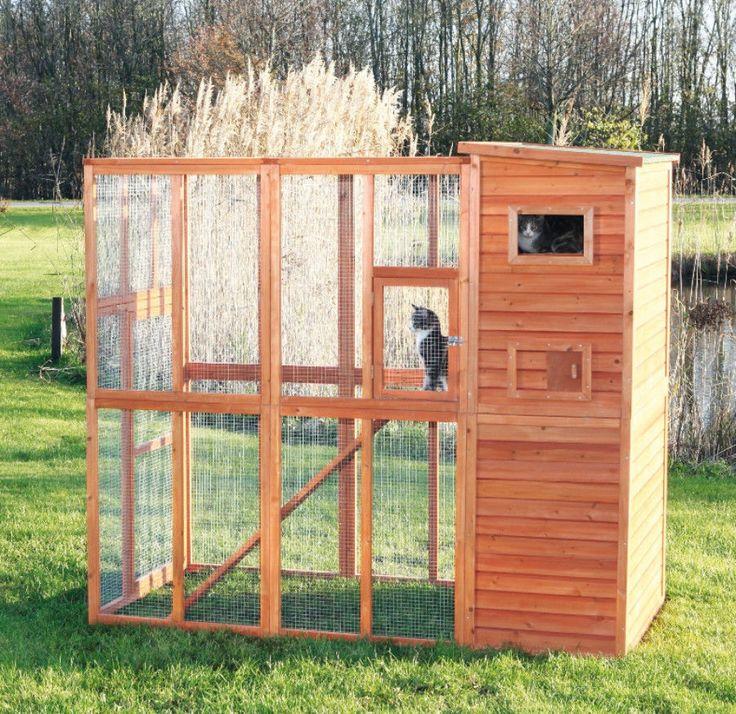 Stationary Wooden Outdoor Cat Run Pet Pen Enclosed Backyard Cage Furniture #PetPen
