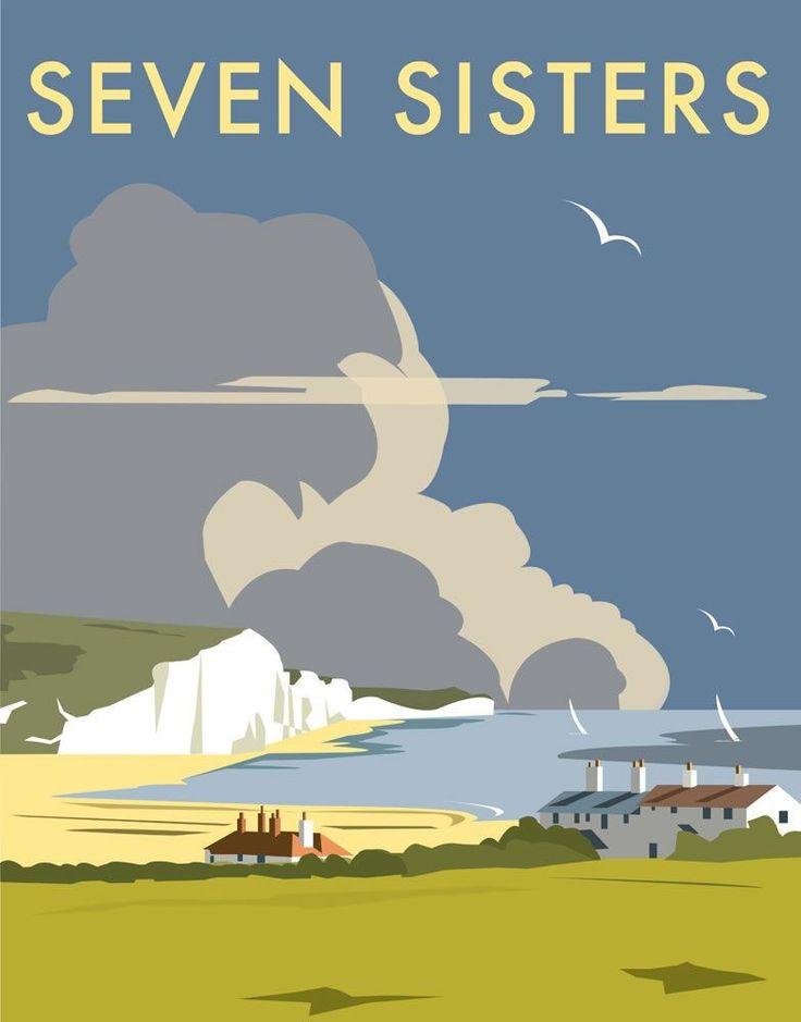 Seven Sisters Art Print - David Thompson, contemporary illustrator.