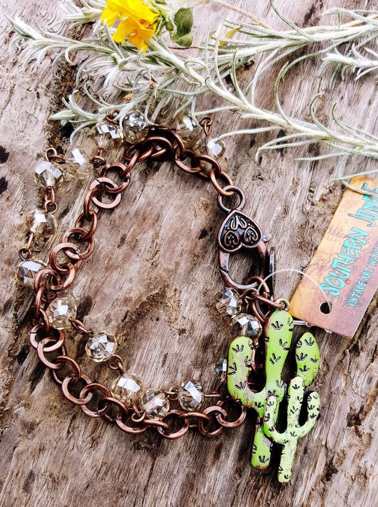 COWGIRL Bling  CRAZY ABOUT CACTUS Western COPPER TONE Boho Gypsy Bracelet…