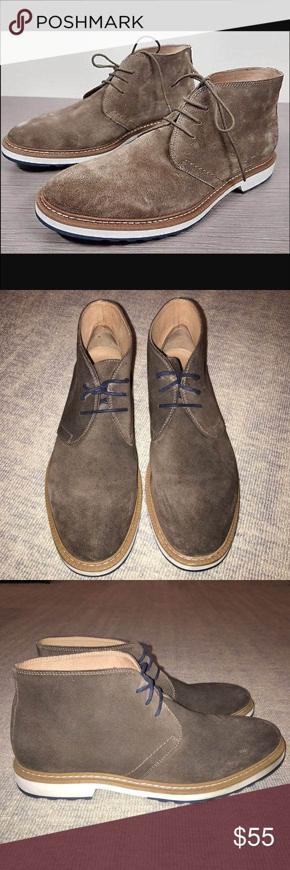 1901 Men's suede chukka boots. 1901 Men's brown suede chukka boots. Suede upper. Rubber soles. Some scuffing on rubber soles (pictured) but not bad at all. Great condition. 1901 Shoes Chukka Boots