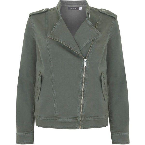 Mint Velvet Denim Military Jacket (4.310 RUB) ❤ liked on Polyvore featuring outerwear, jackets, khaki green, denim biker jackets, green field jacket, military jacket, khaki denim jacket and field jackets