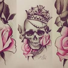 Bildergebnis für beautiful skull tattoos for women