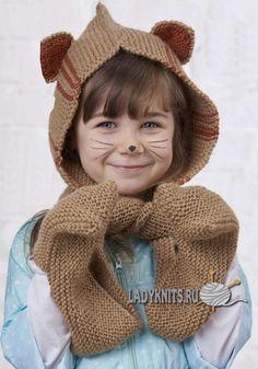"""Вязаный спицами детский шарф-капюшон """"Зверюшка"""""""