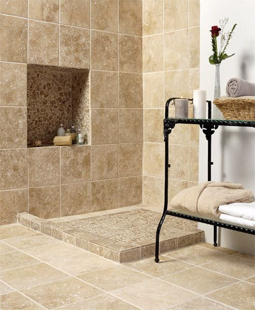 Alterra natural stone collection mediterranean showers country floors bathrooms pinterest Natural stone bathroom floor