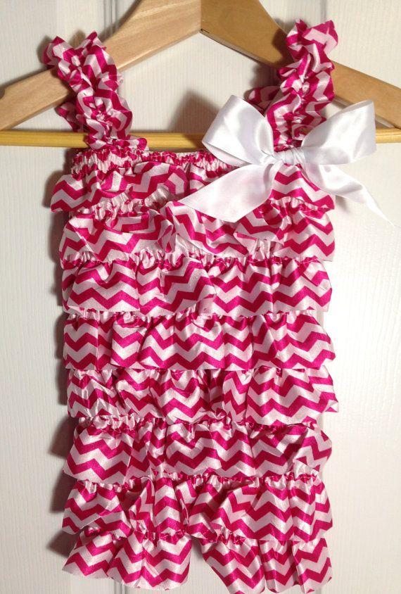 Hot pink & white chevron print satin romper by CutiePieonEtsy, $13.00