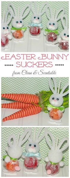 These Easter Bunny suckers are SO cute!  They would be great for class treats or a kids' Easter table!
