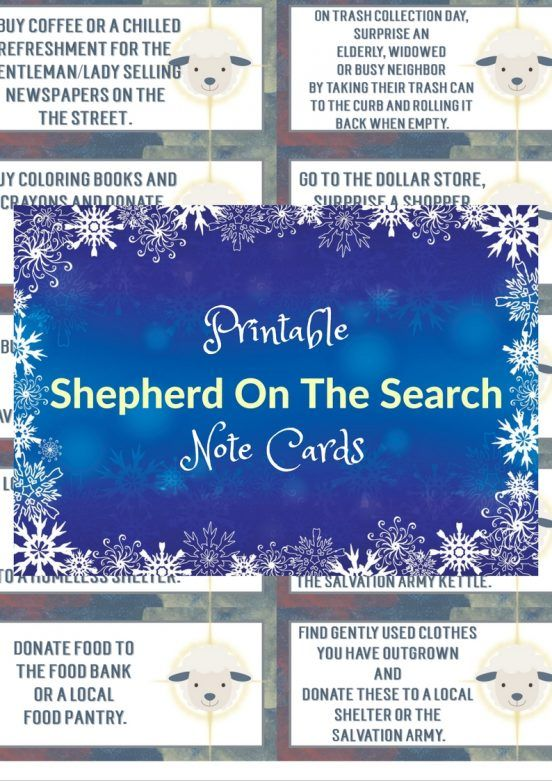 To make things a little easier on you, here's a set of 30 printable Shepherd on the Search notecards that you can use and a template of blank notecards to allow you to write out your own Act Of Love prompts for each day.