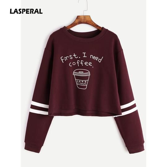 LASPERAL 2018 Spring Women Fashion Letter Print First I Need Coffee Hoodies Women Long Sleeve Casual Cropped Sweatshirt Pullover