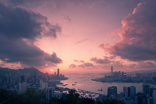 beautiful HongKongHong Kong, Pink Sunsets, Favorite Places, Pink Sky, Hongkong, Happy Day, Cities Photography, Cities Life, Cities View