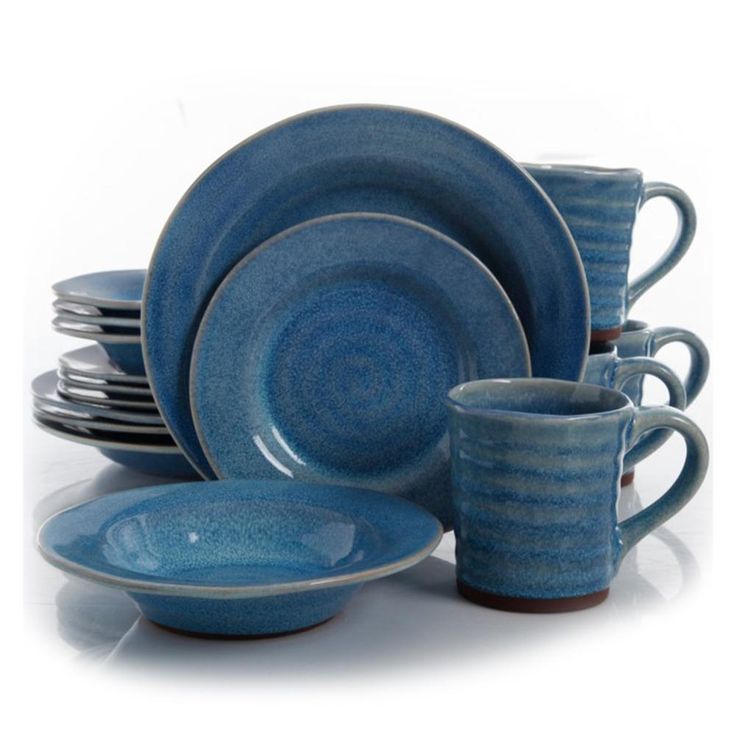 Gibson Elite Mariani 16 Piece Stoneware Dinnerware Set in Blue