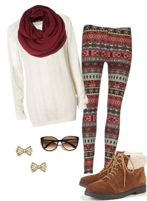 Long top, leggings, boots, big scarf. Winter uniform when you're in grad school