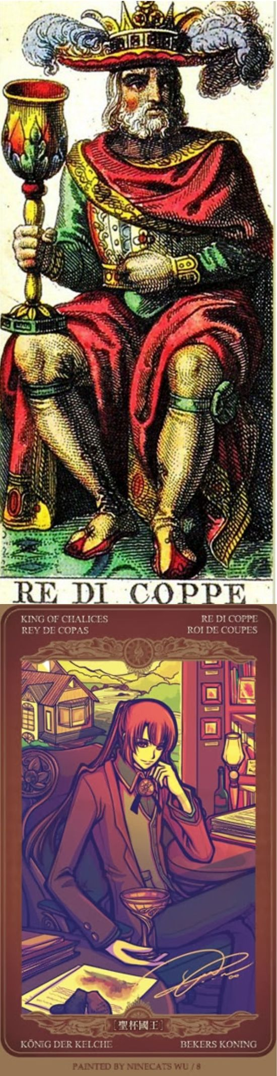 King of Cups: compassionate and a master of emotions with selfish intentions (reverse). Sofani Tarot deck and Oze 69 Watchers Tarot deck: tarot reading, free daily tarot and tarot cards on line. Best 2017 psychic reading sign and tarot deck blessing. #tarotart #witchy #application #pods #happyhalloween #swords