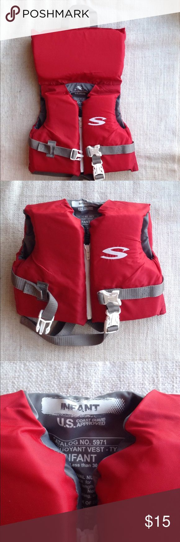 Stearns infant classic series vest Used only once!  Stearns Infant Classic Series Vest helps protect little swimmers at the beach or on the boat. The US Coast Guard-approved design is specially-fitted for infants under 30 lbs. A rescue handle allows adults to easily move the infant from the water or the boat, and it has one adjustable chest belt, a zipper and an adjustable leg strap for a tight and secure fit. Durable nylon construction and PE flotation foam, along with webbed straps, will…
