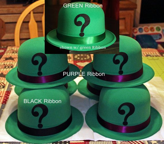 RIDDLER Green Velour coated Costume DERBY HAT Cosplay, Comic Con, by Montyfam6 on Etsy,