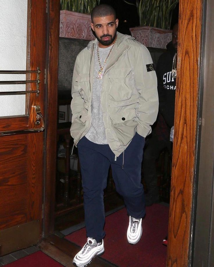 Drake Rocks Stone Island Jacket, Nike Air Max Sneakers And OVO Owl Ben Baller Chain