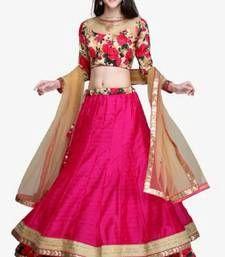 Buy Pink embroidered Bhagalpuri Semi-stitched lehenga-choli ghagra-choli online