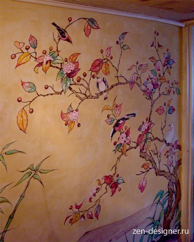 Художественная роспись стен в интерьере хрущевки своими руками