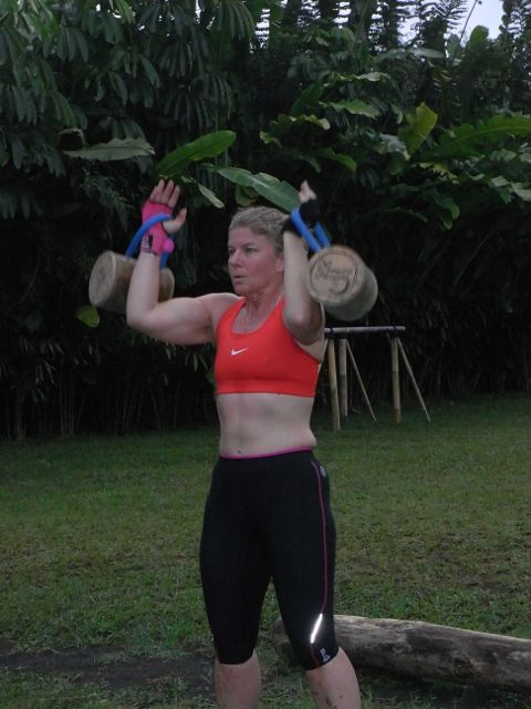 """Bamboo Kettle Bells"" at work in a Sharing Bali Fitness session"
