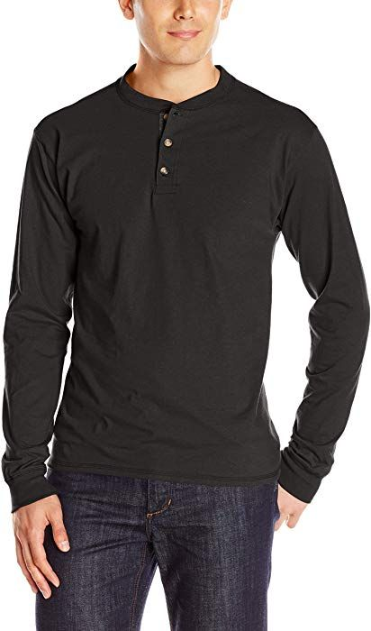 fe9fe94c76c1 Hanes Men's Long Sleeve Beefy Henley Shirt, Pebblestone Heather, Large:  Amazon.ca: Clothing & Accessories