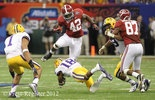 Alabama running back Eddie Lacy (42) leaps over LSU safety Brandon Taylor (18) during the BCS Championship Monday, Jan. 9, 2012 at the Mercedes-Benz Superdome in New Orleans, La. (Press-Register, Bill Starling)