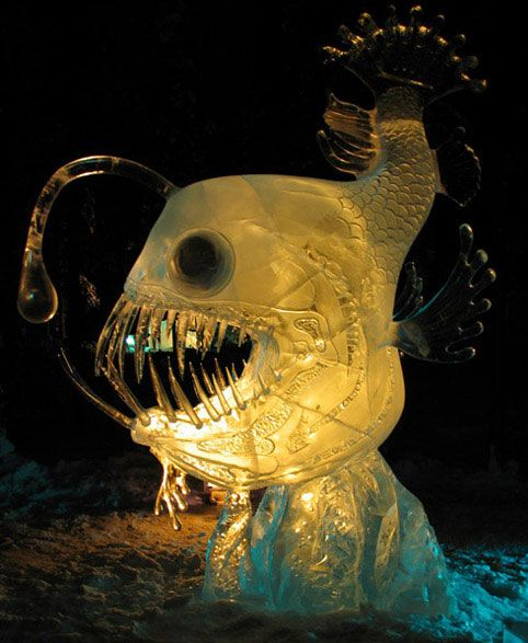 53 best ice sculpture images on pinterest snow for Ice fishing at night
