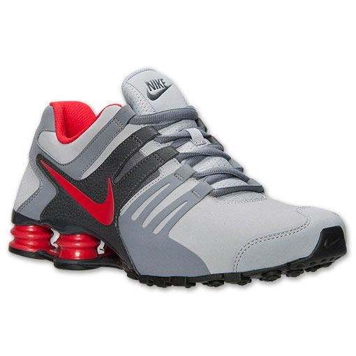 Men's Nike Shox Current Running Shoes| Finish Line | Wolf Grey/University Red/Cool Grey SIZE 11.5