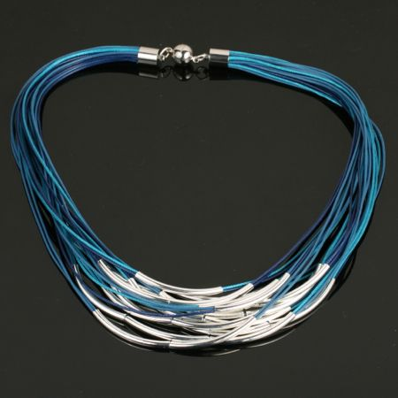 Necklace in Marine blues. Available soon at www.shazbamdecor.com. Check out more new arrivals at www.facebook.com/shazbamhome