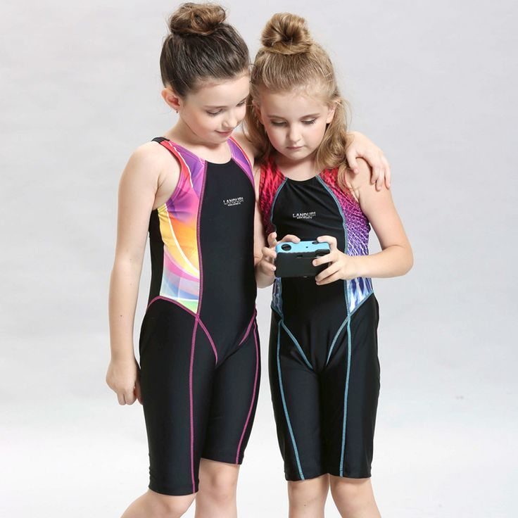 Children Professional Racing Piece Swimsuit Girls learn to swim Swimwear Kids  Long Legs Swimsuit for Your Baby Gifts