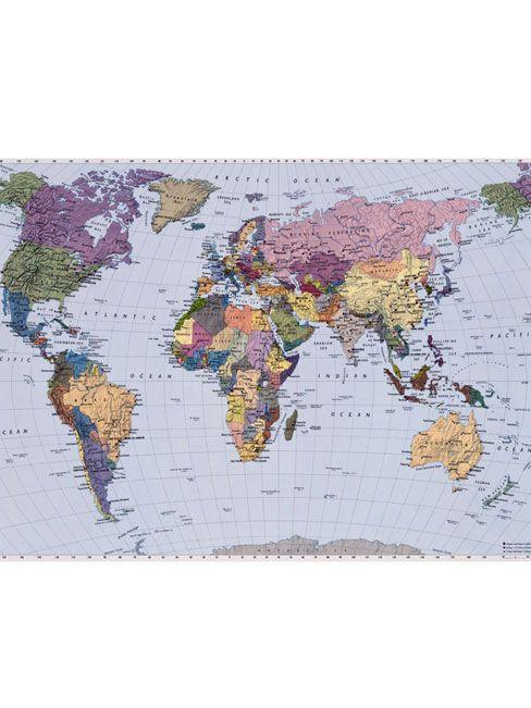 World Map Photo Wall Mural 188 x 269 cm