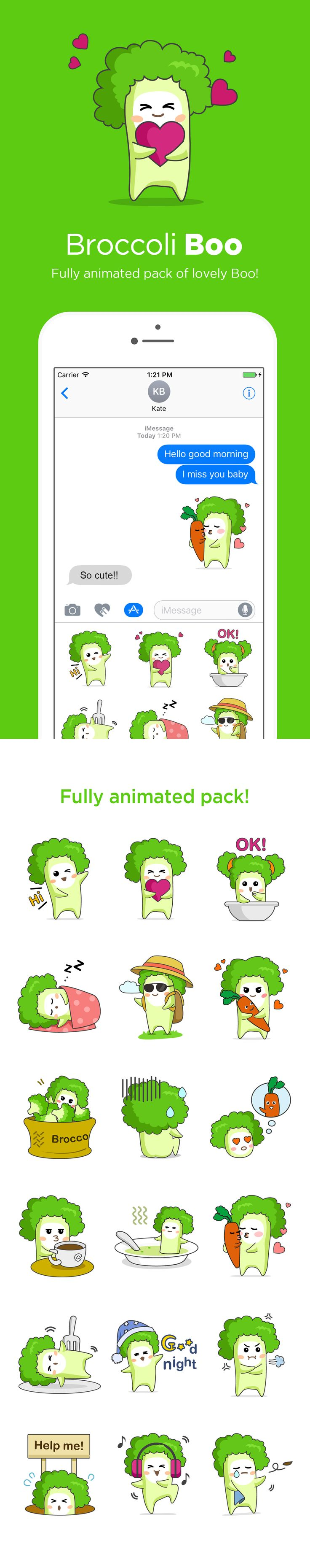 A sticker 'broccoli boo' for imessage app. Newly launched on itunes app store.