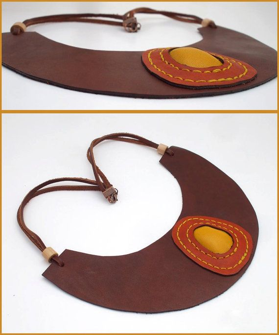 Brown leather necklace with yellow leather hand by GloberinaDesign
