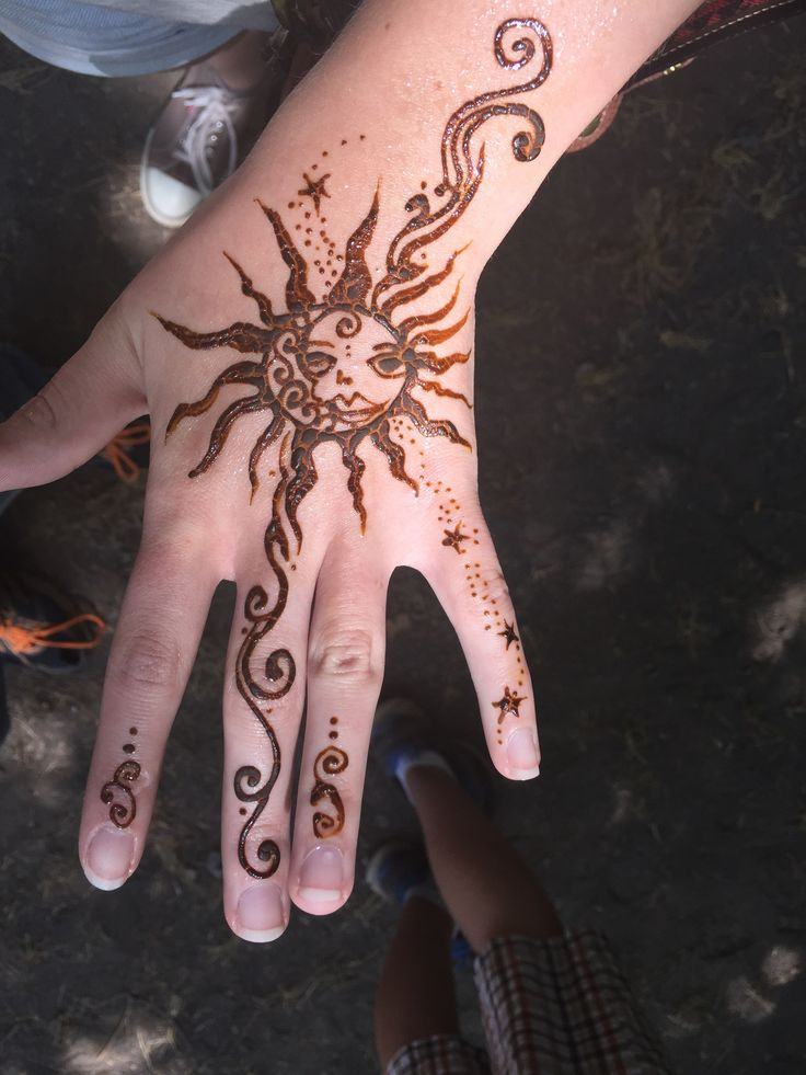 Mehndi Patterns Explained : Henna with astrological symbols love free hand designs