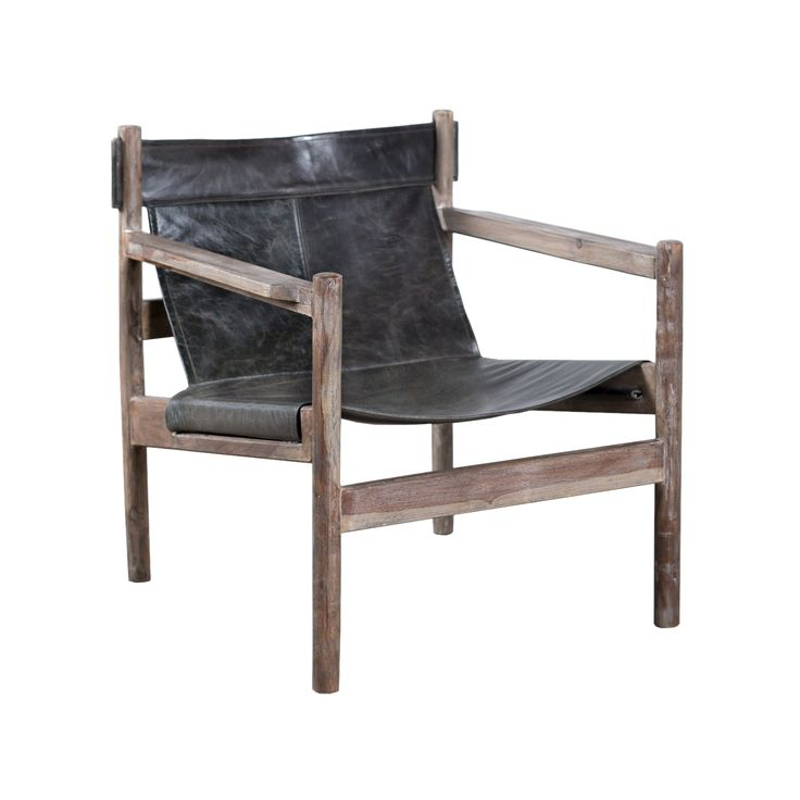 Featuring a weathered but solid-Sheesham wood frame and distressed, charcoal-colored water buffalo leather, this version of the iconic sling chair is a rustic, manly must-have.  Find the Water Buffalo Sling Chair, as seen in the A Modern Craftsman Dream Home Collection at http://dotandbo.com/collections/a-modern-craftsman-dream-home?utm_source=pinterest&utm_medium=organic&db_sku=106668