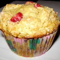 Strawberry Oat Muffins Allrecipes.com   Used 1/2 c almond milk and 1/2 cup of sour cream for buttermilk. Used 1/4 c applesauce for 1/4 c oil. Omitted vanilla. Yum!