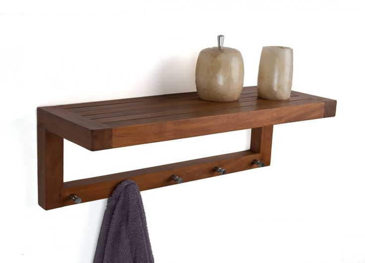 The Original 24 Quot Moa Teak Wall Shelf With Hooks