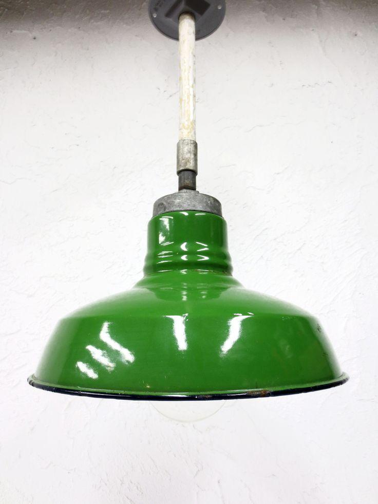 "Vintage Wheeler Porcelain Enamel Light Shade Fixture 12"" Dia Industrial Green"